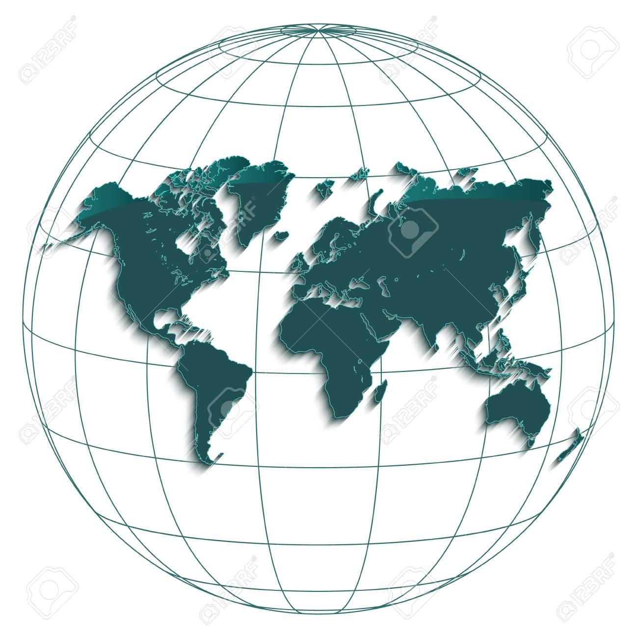 World map globe earth globe geographic coordinates white background..