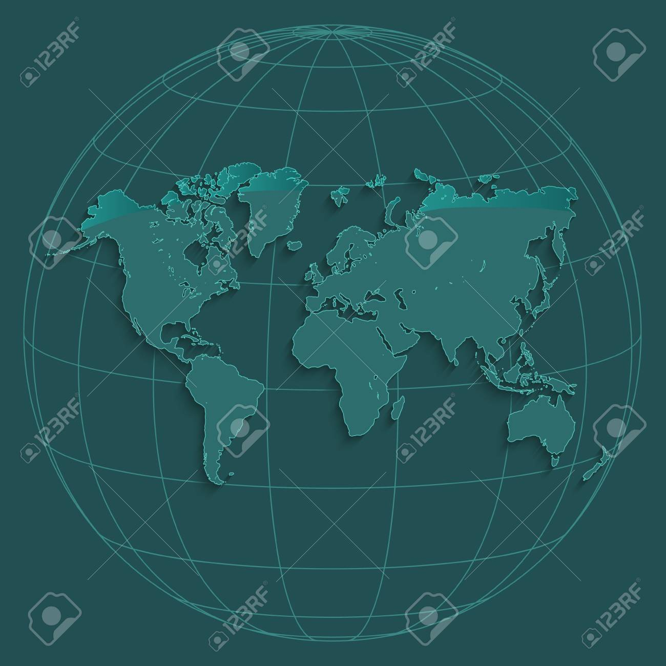 World Map Globus Geographic Coordinates Globe Petroleum Color Raster ...