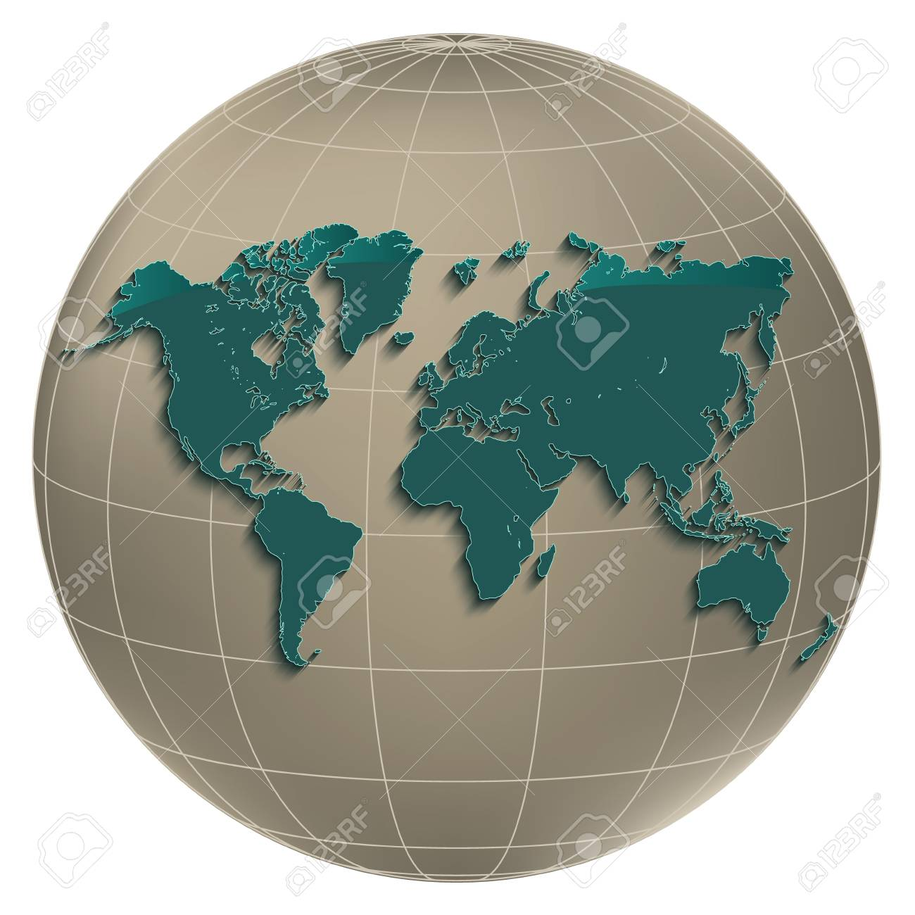World map earth globus geographic globe coordinates white background..