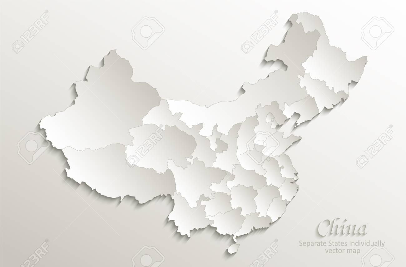 China map Separate States individually card paper 3D natural vector - 102705472