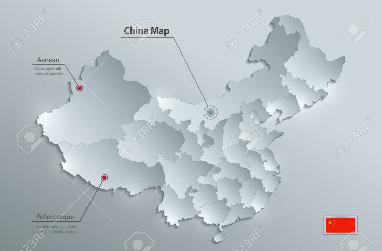 China map separate states individually glass card paper 3D vector - 102253527