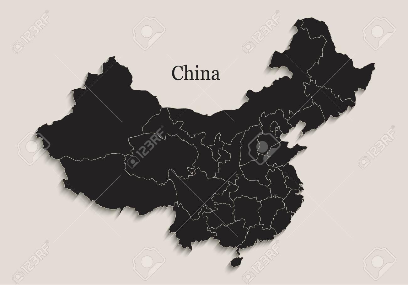 China map Black blackboard separate states individual region raster - 105779996