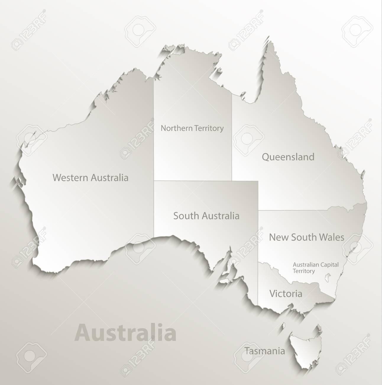 3d Map Of South Australia.Australia Map Separate Region Individual Names Card Paper 3d