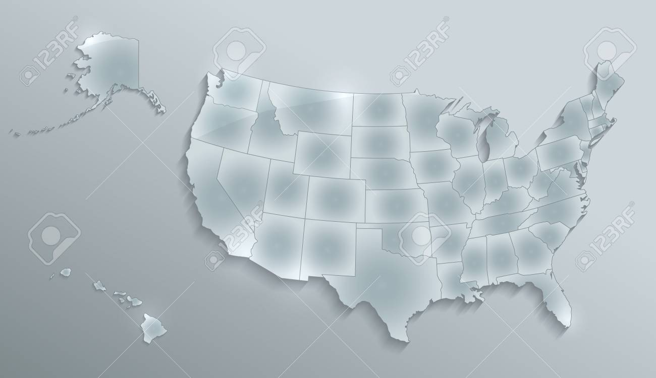 USA Map With Alaska And Hawaii Map Separate States Individual ...