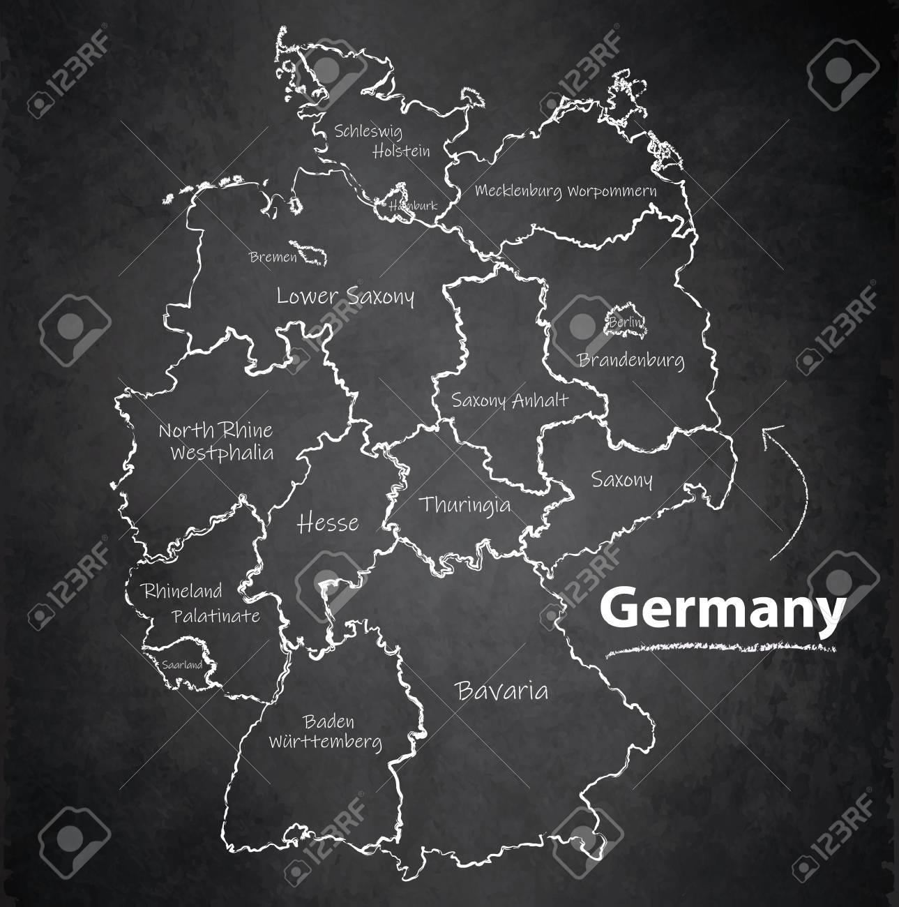 Germany map separate region individual names blackboard chalkboard vector - 104937228