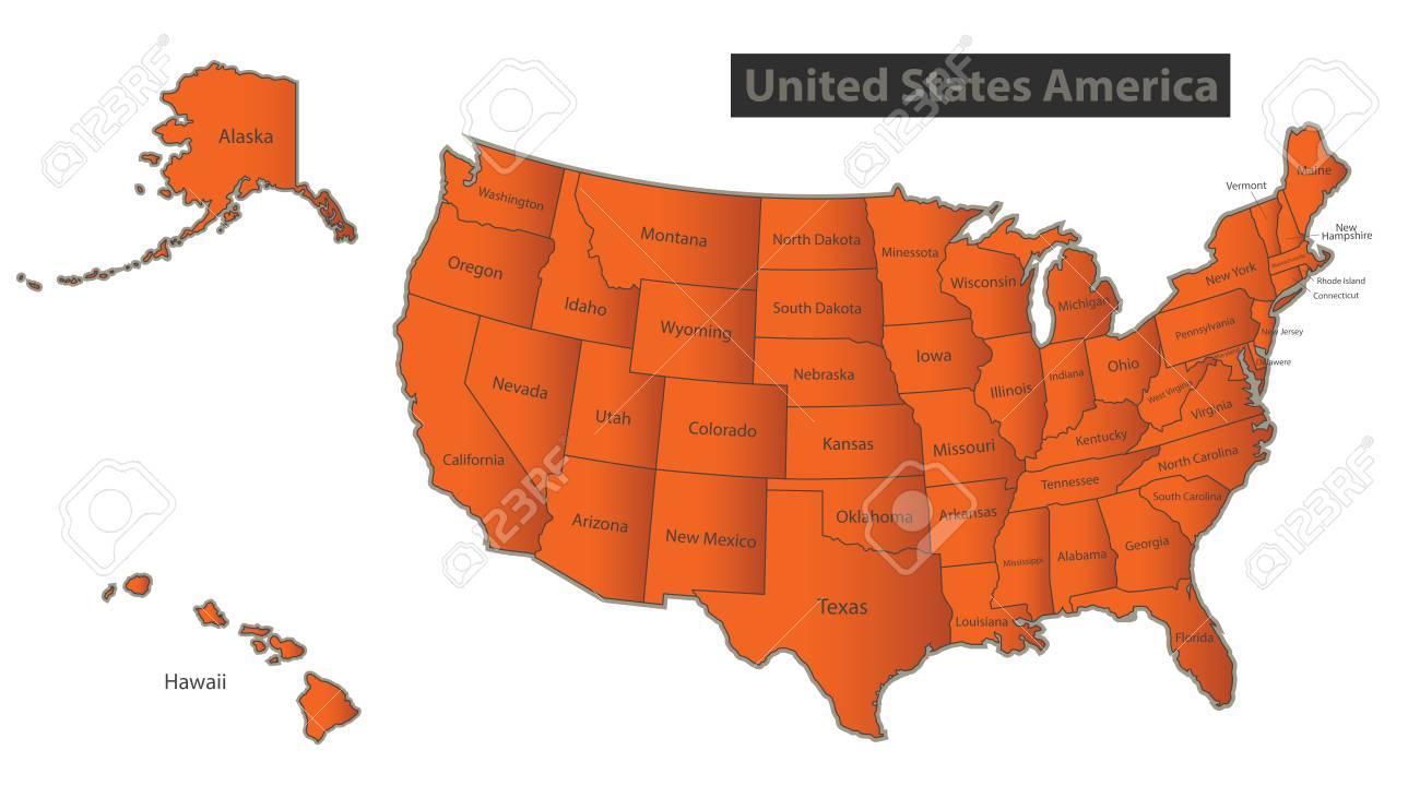 USA map with Alaska and Hawaii Orange separate states individual..