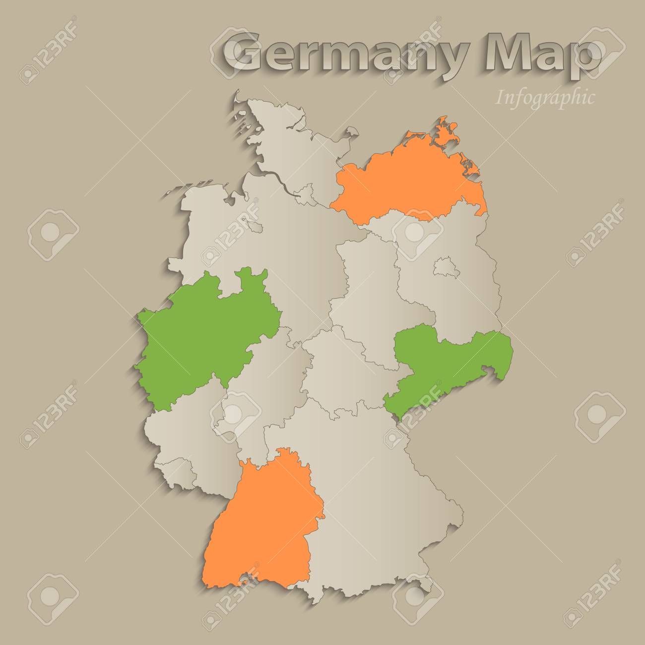 Germany Map States.Germany Map With Individual States Separated Infographics With