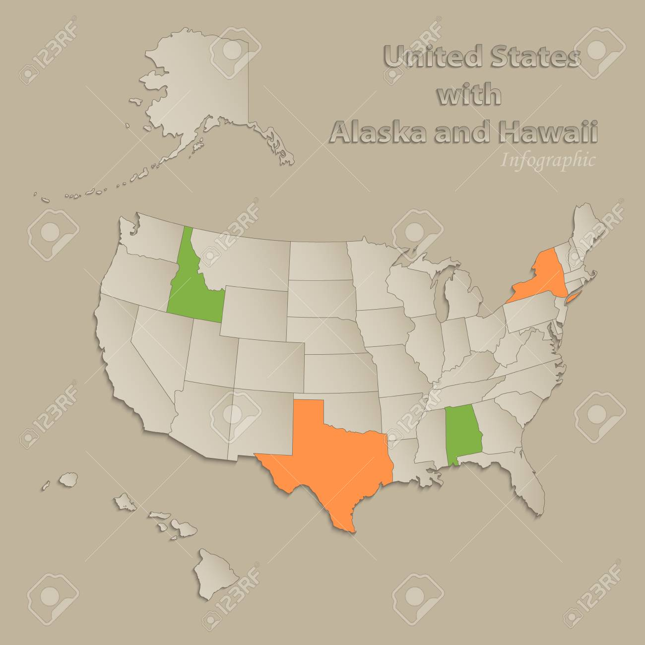 USA With Alaska And Hawaii Map With Individual States Separated ...