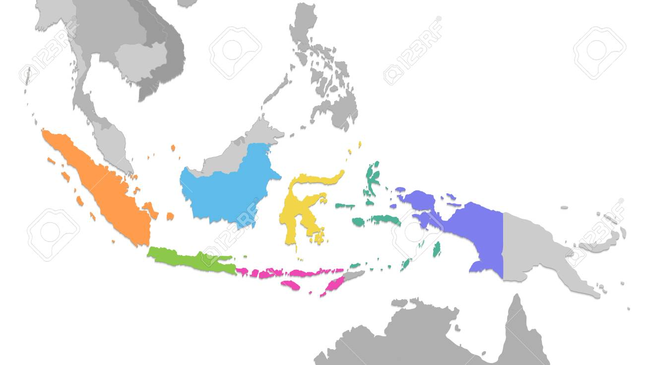 Indonesia map, new political detailed map, separate individual..