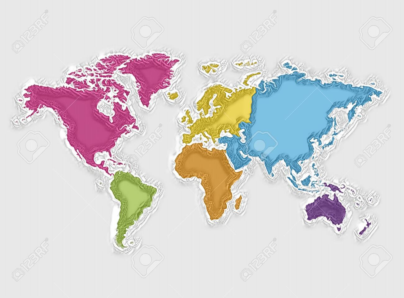 World map and colorful continents, abstract texture