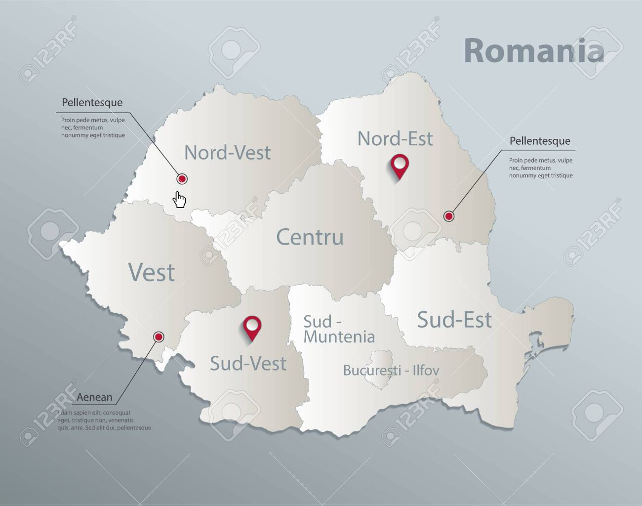 Romania map, administrative division with names, blue white card paper 3D vector - 148162832