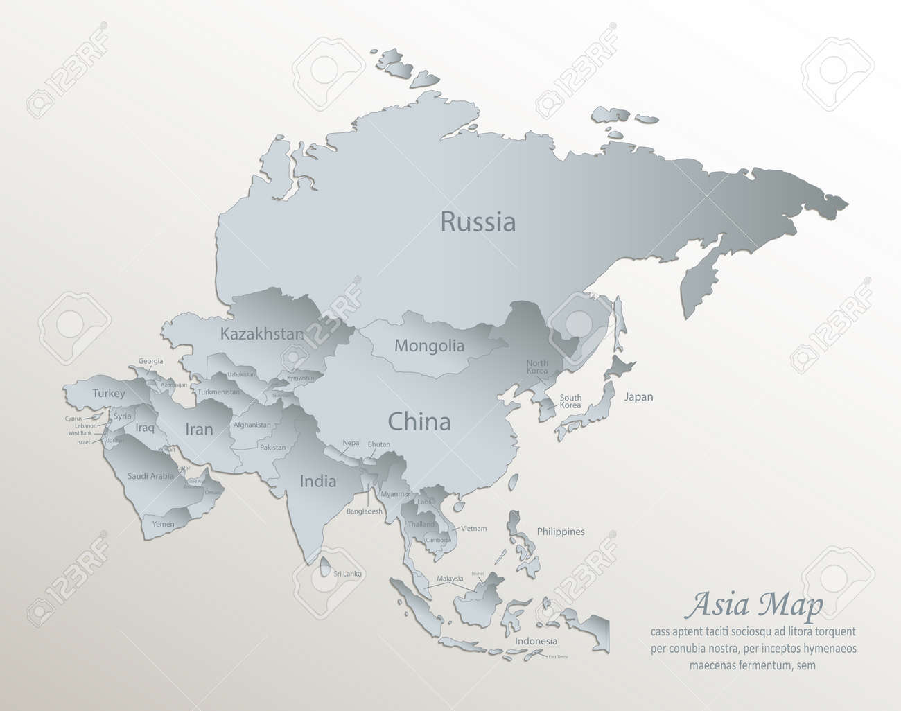 Asia map, separate states with names, white blue card paper 3D vector - 168780563