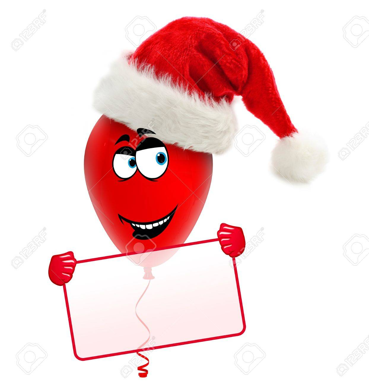 Funny christmas balloon with hat  Holding frame Stock Photo - 15327777