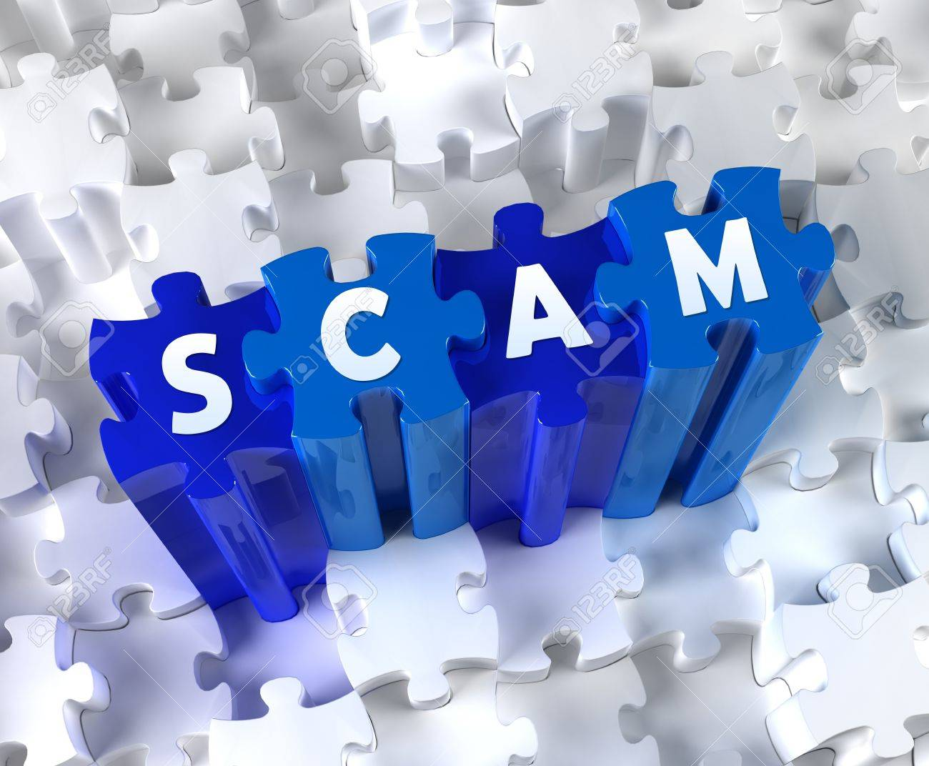 Creative 3D pieces of puzzle and word SCAM Stock Photo - 19157404