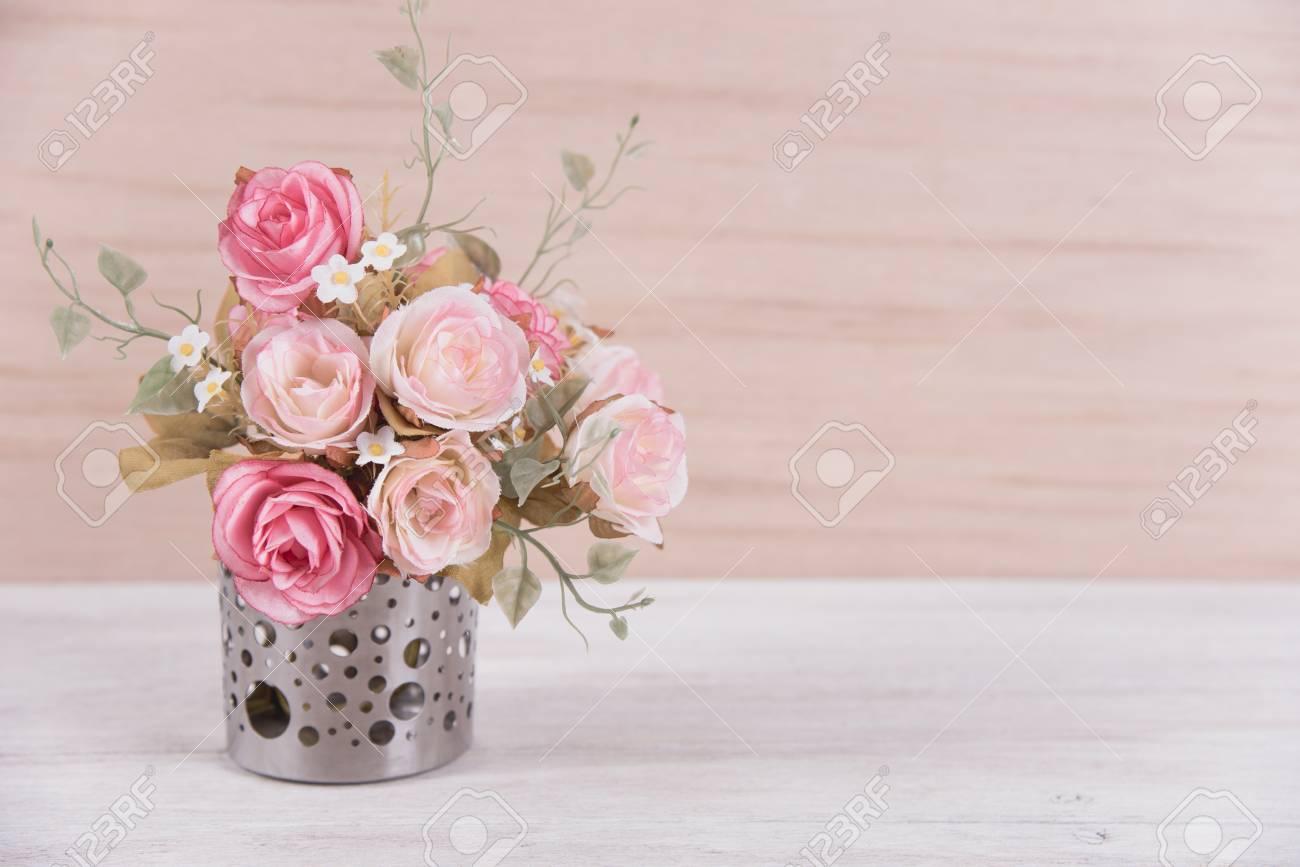 still life interior decoration pink rose flower in a vase on..