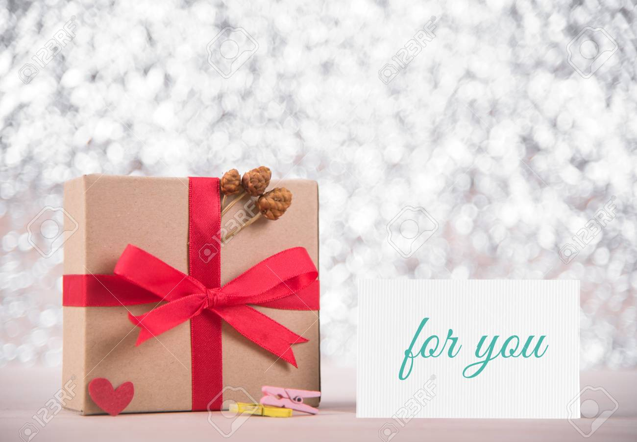 Picture Of Gift Box With Red Ribbon And Message Love You On Greeting