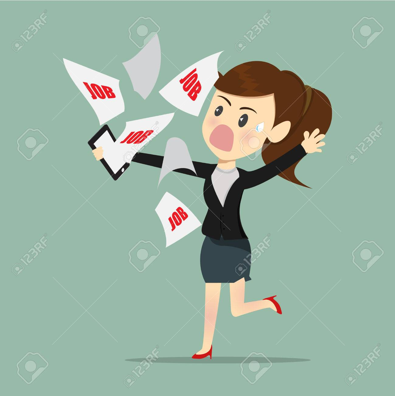 Business women busy and tried with e-mail work a receive from boss. - 63549053