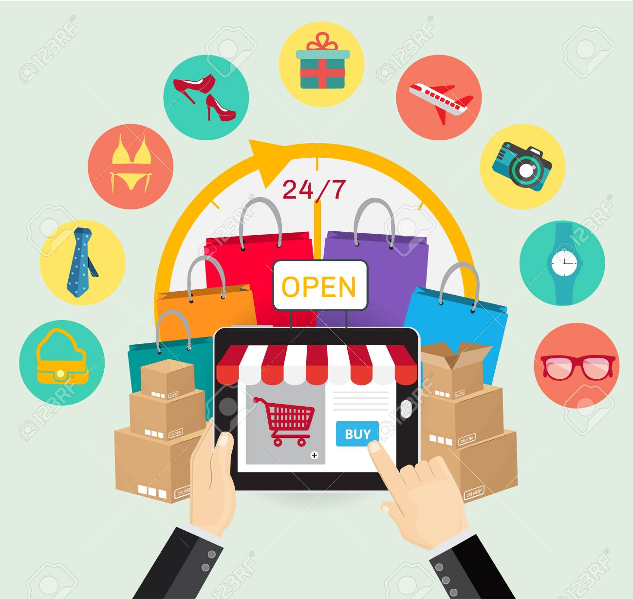 28696b95c53 Online shopping e-commerce concept. business button order item store online  on smartphone and