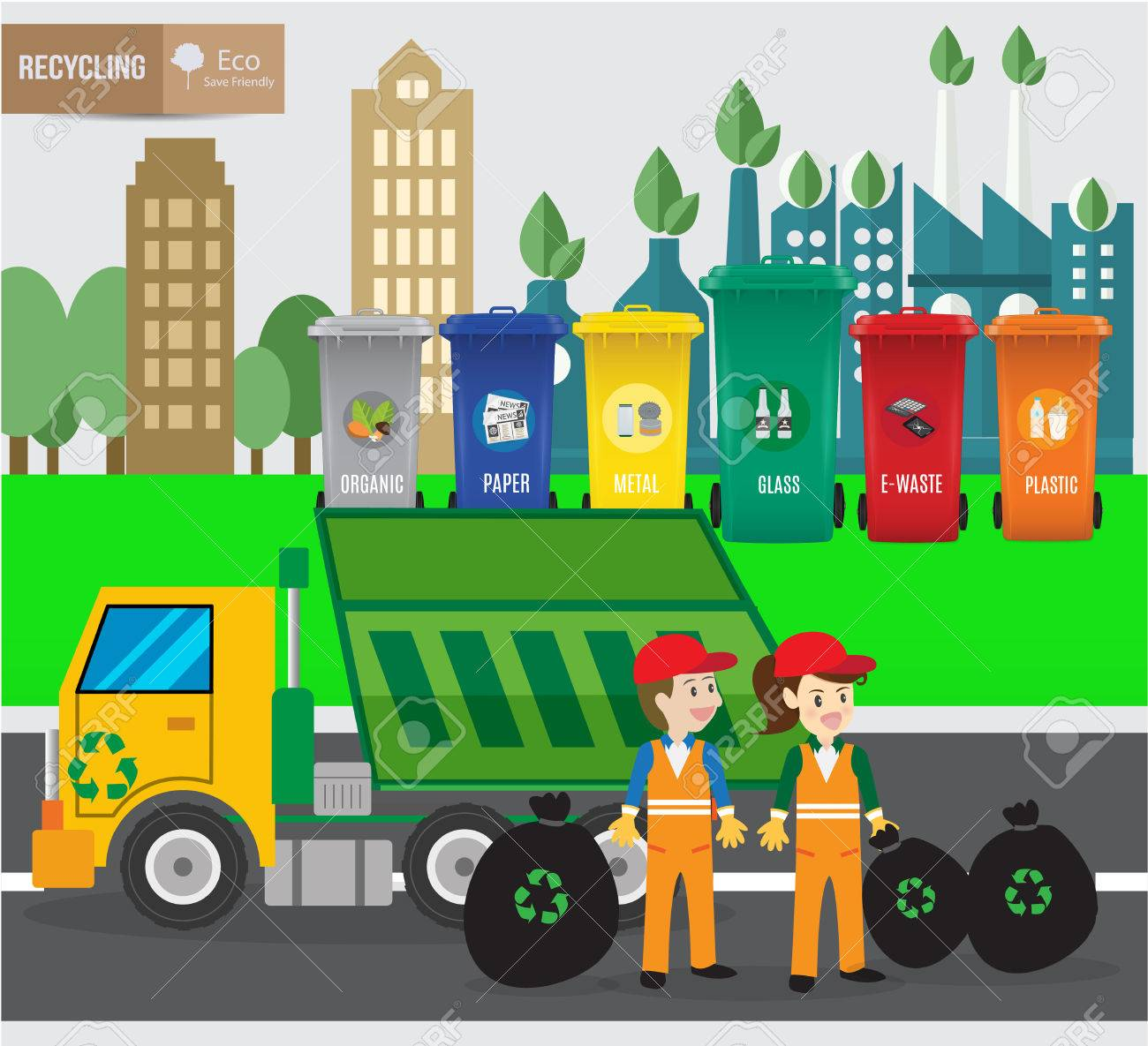 Waste recycing infographic and green ecology recycle.environmental friendly. Can be used for business layout, banner, diagram, statistic, web design, info chart, brochure template. vector illustration - 73639028