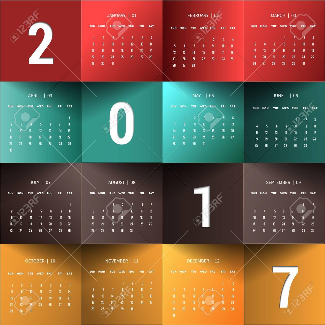 Calendario Para 2017 Año Enero-diciembre. Puede Utilizar Para El ...