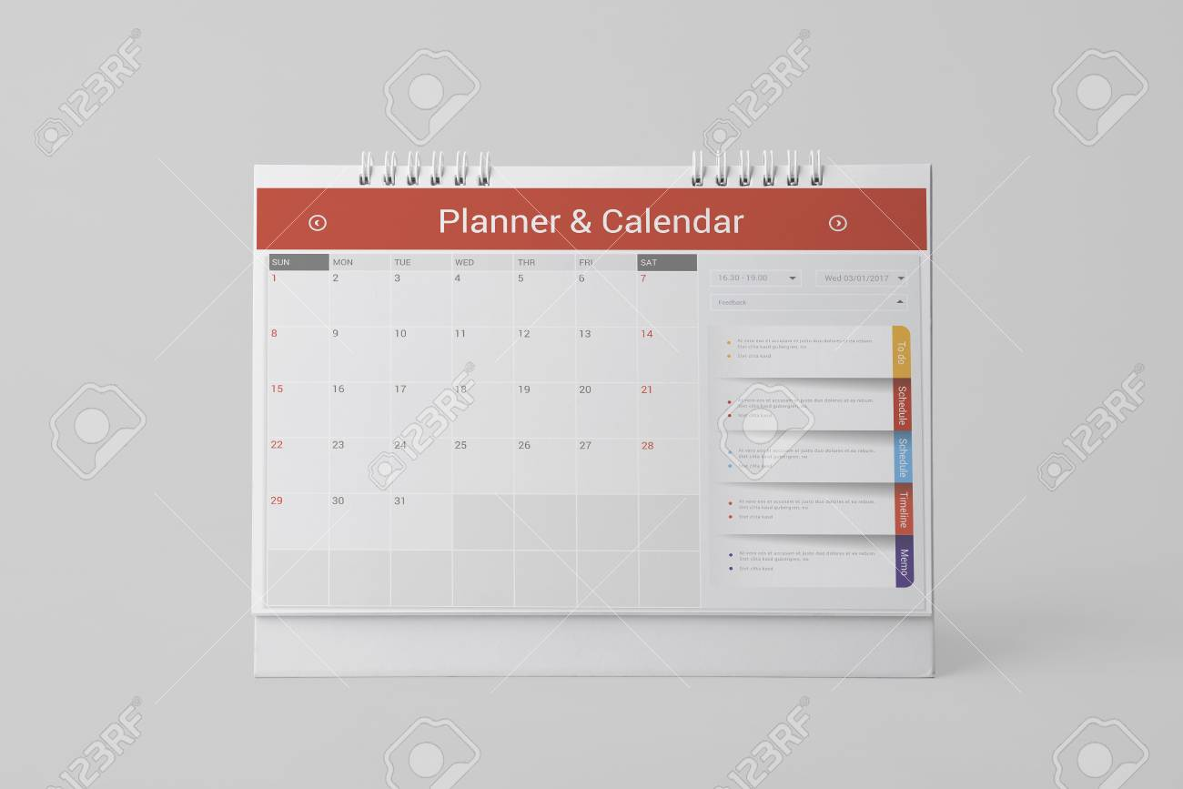 paper spiral calendar for mockup template advertising and branding