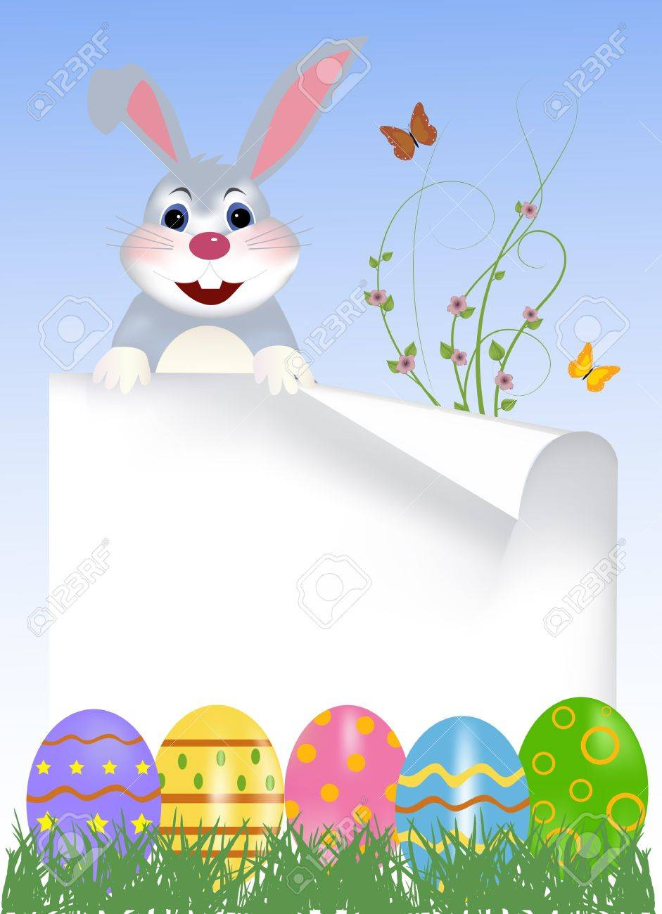 happy easter bunny with colored eggs easter card royalty free