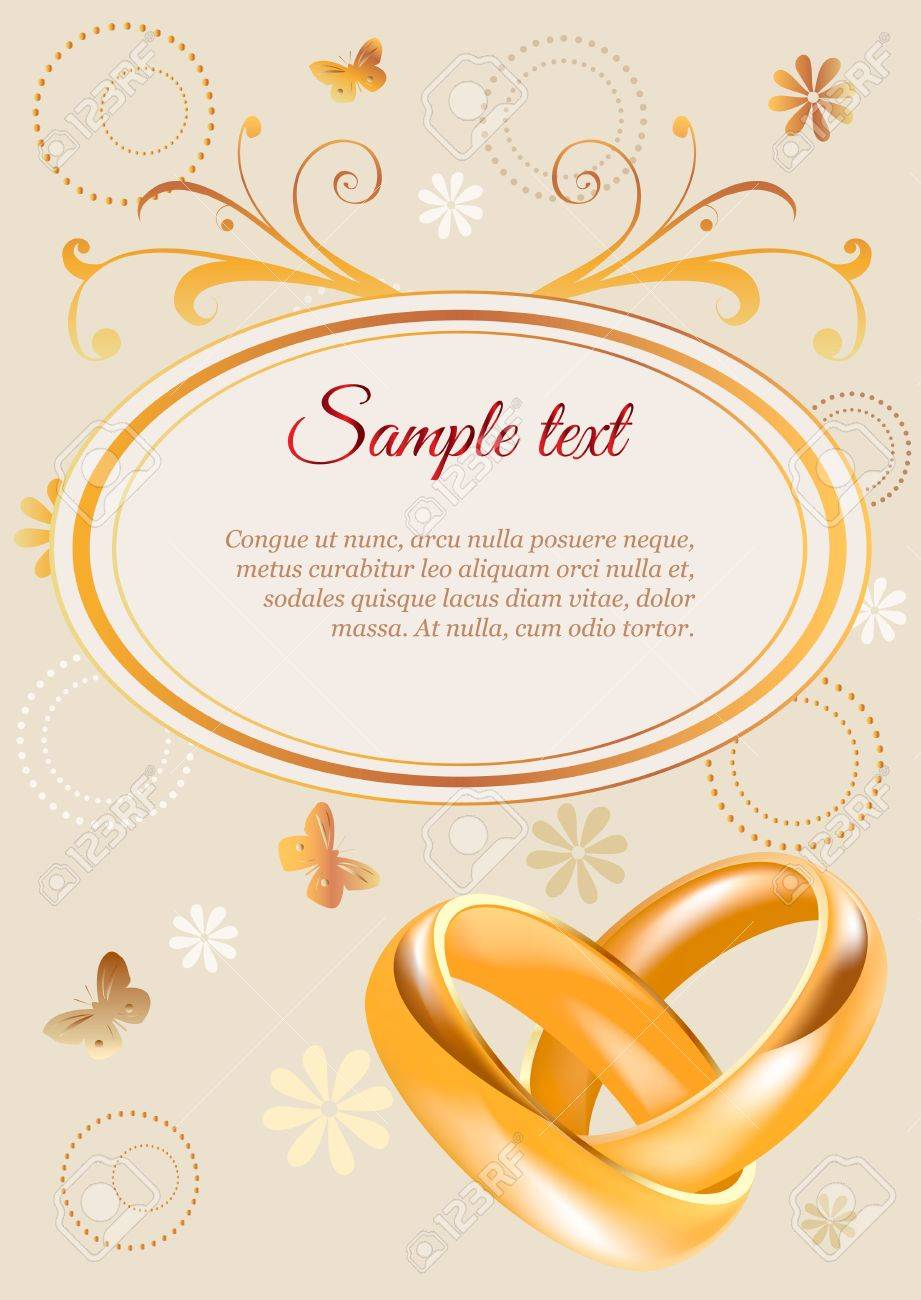 Wedding Invitation Width 3D Golden Rings And Flowers Royalty Free ...