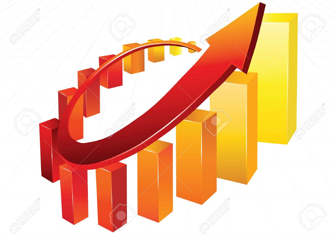 Statistic charts, surrounded by 3d  arrow Stock Vector - 16290190