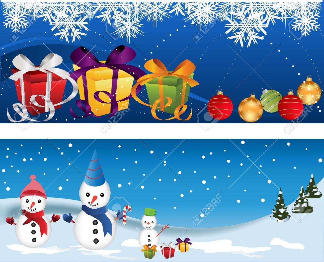 Free banner images for website - Website Header Or Banner Set With Snow Man And Decorations Stock Vector 16427514