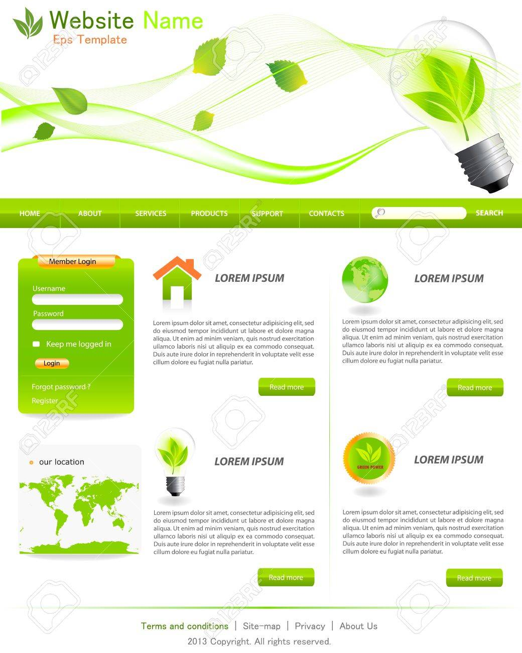 green eco website layout template royalty cliparts vectors green eco website layout template stock vector 17580287