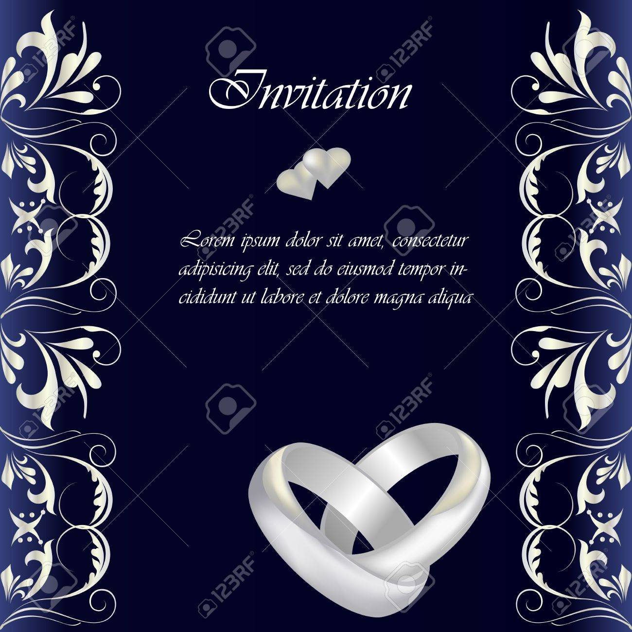 Wedding Invitation Width 3D Rings And Flowers Royalty Free Cliparts ...