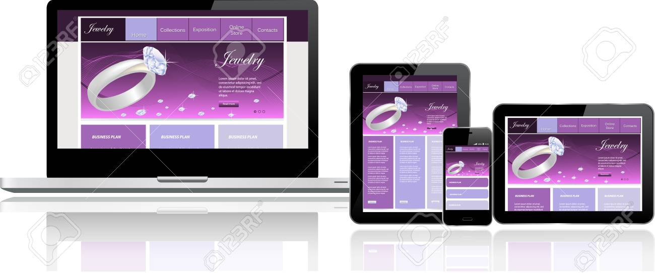 Responsive website template on multiple devices Stock Vector - 24366493