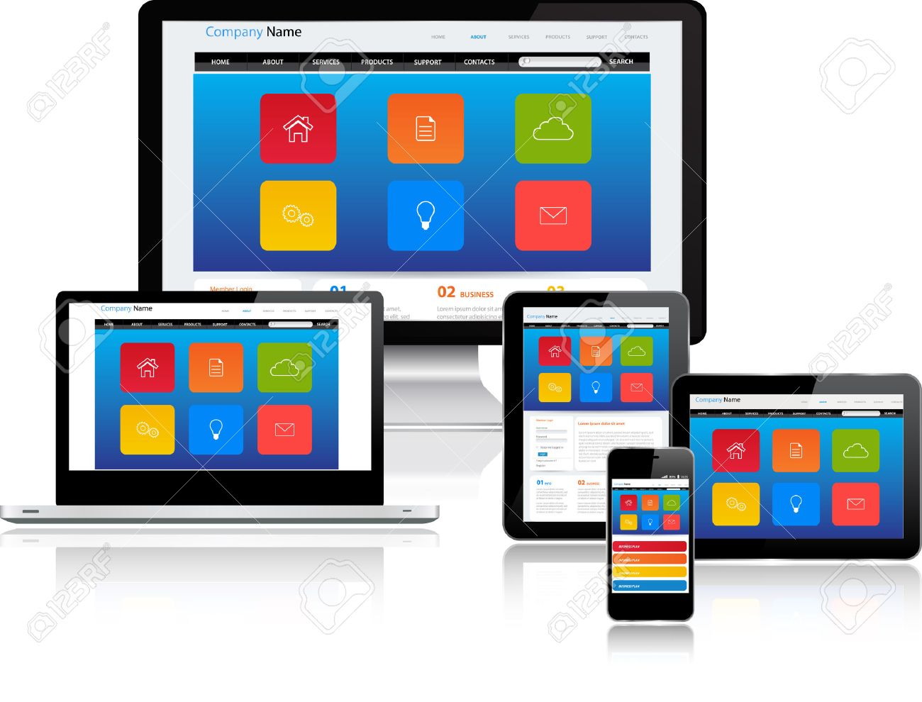 Responsive website template on multiple devices Stock Vector - 25315710