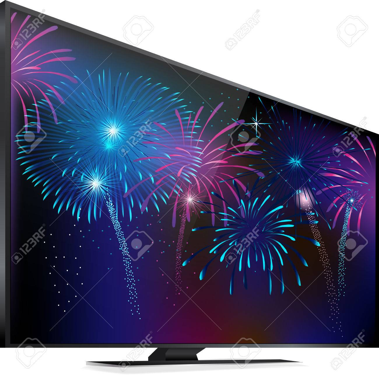 Fireworks lighting up the sky Smart TV screen with fireworks