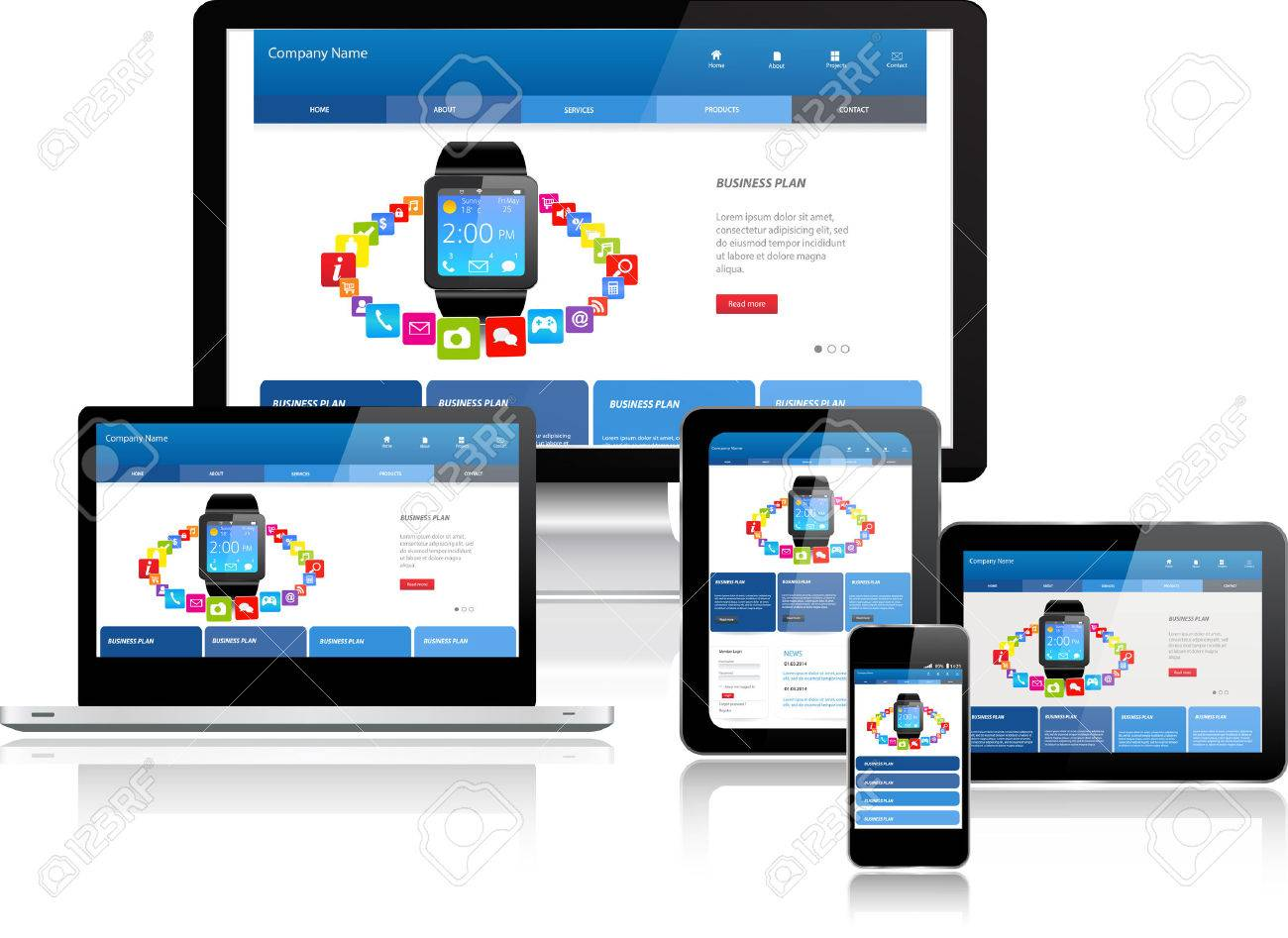 Responsive Website Template On Multiple Devices Royalty Free ...