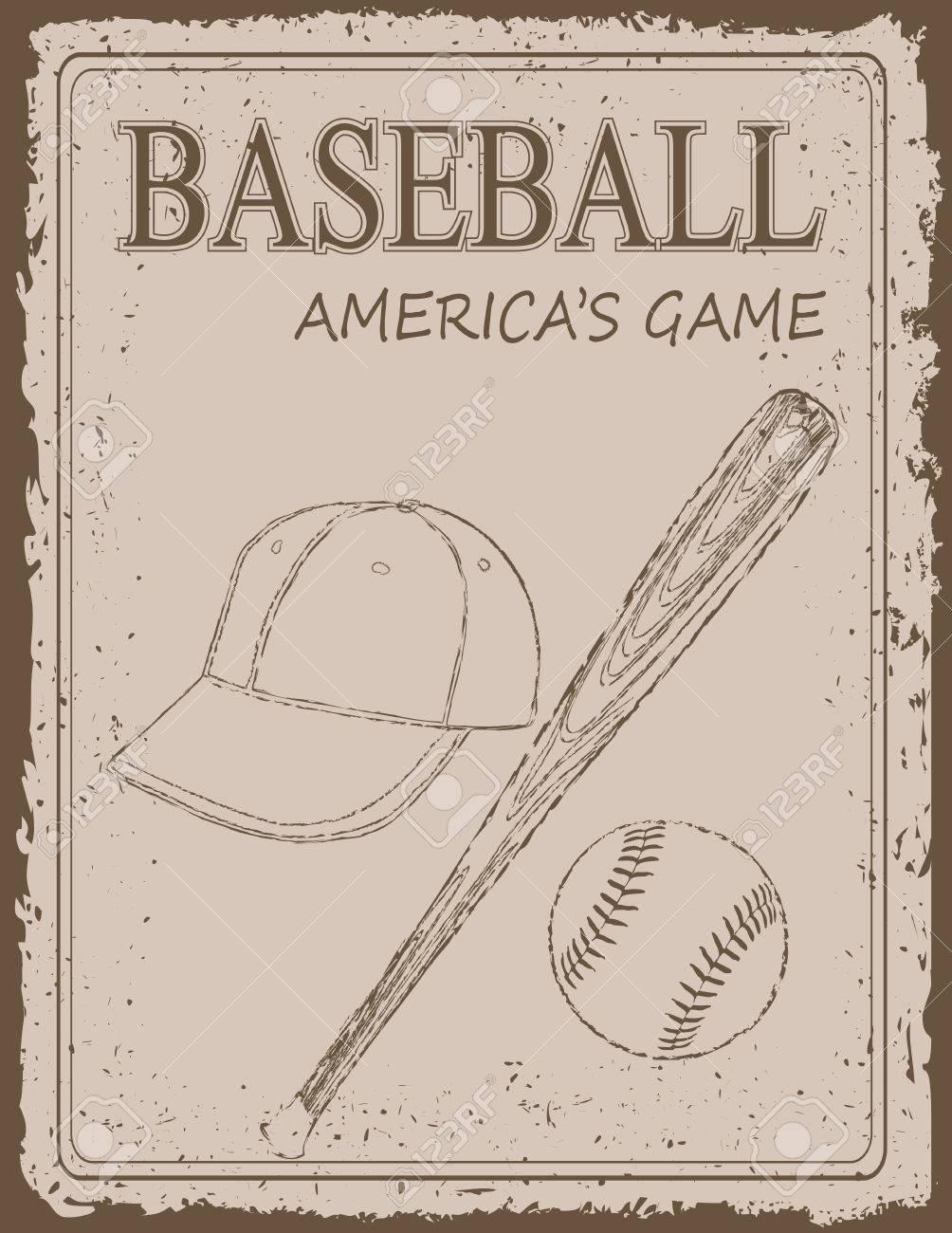 Vintage Baseball Poster On Old Paper Background Royalty Free