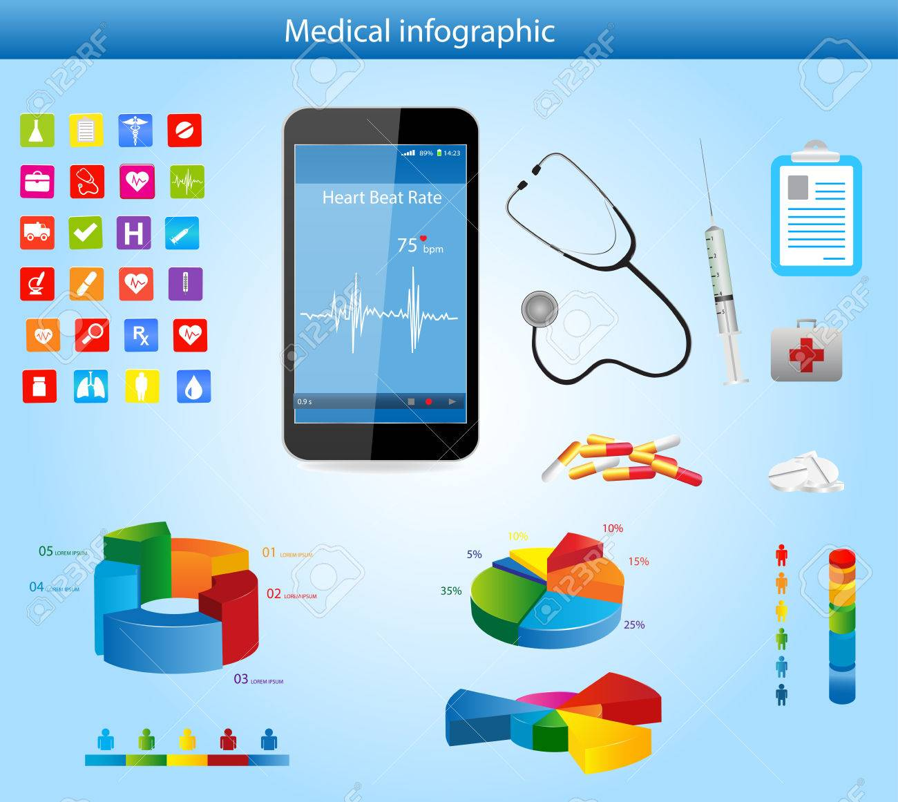 Set of medical infographic elements with icons different charts set of medical infographic elements with icons different charts smartphone and heart rate monitor nvjuhfo Images