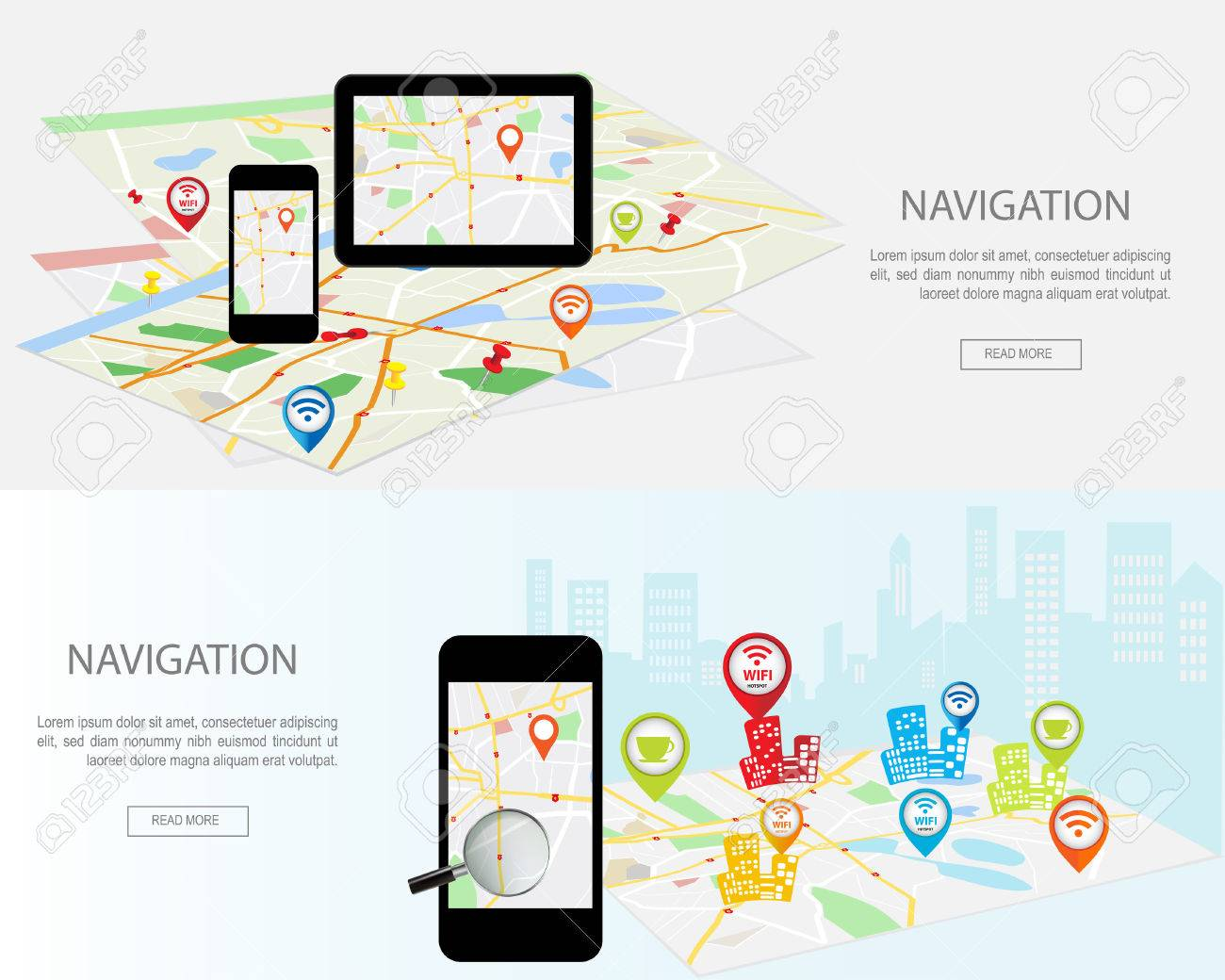 Mobile navigation concept. Modern set of flat design concepts with city map gps navigator on smartphone and tablet screen. Concepts web banner web sites, infographics and printed materials. - 48319522