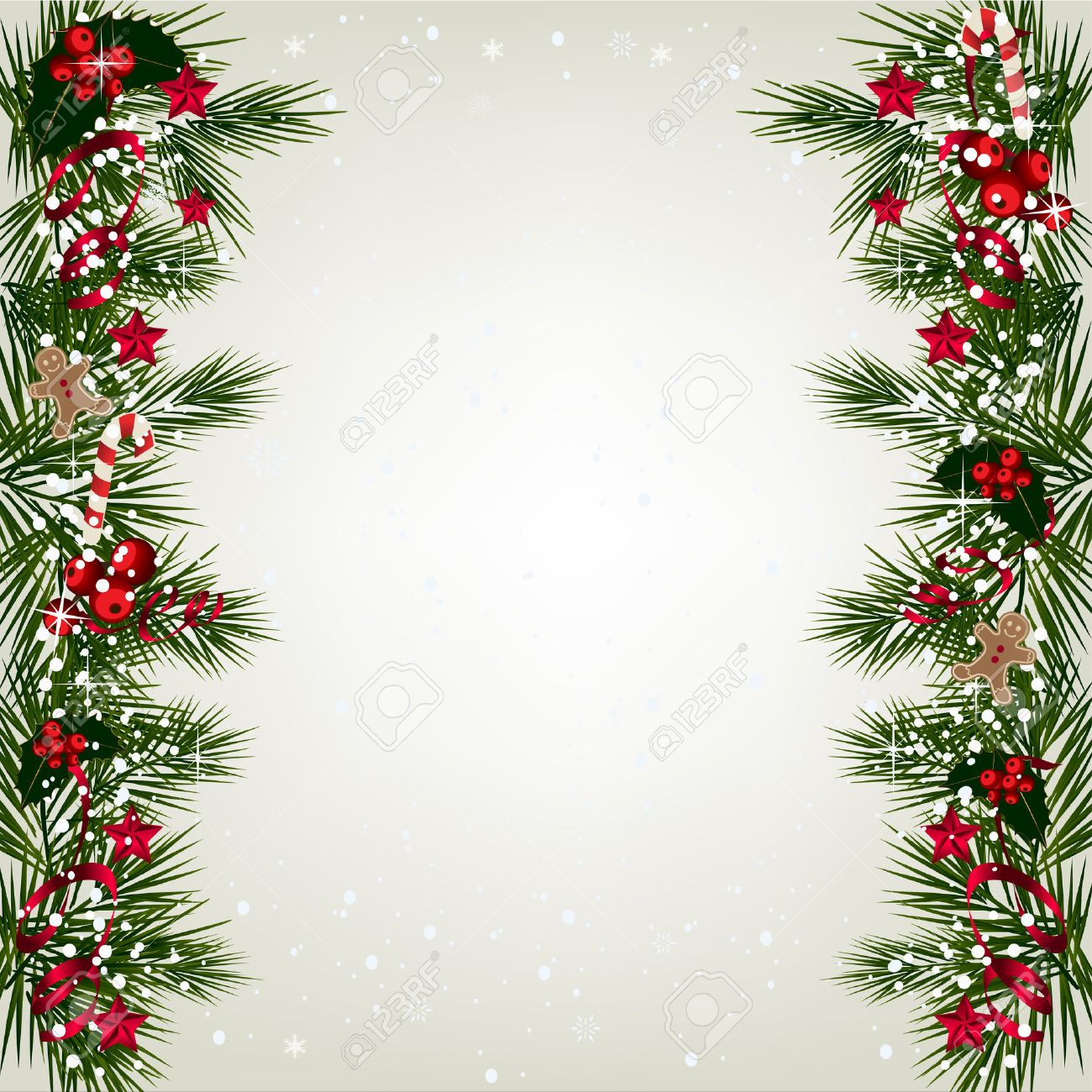 Christmas Branch Tree.Christmas Background With Tree Branch Border With Berry And Ribbon