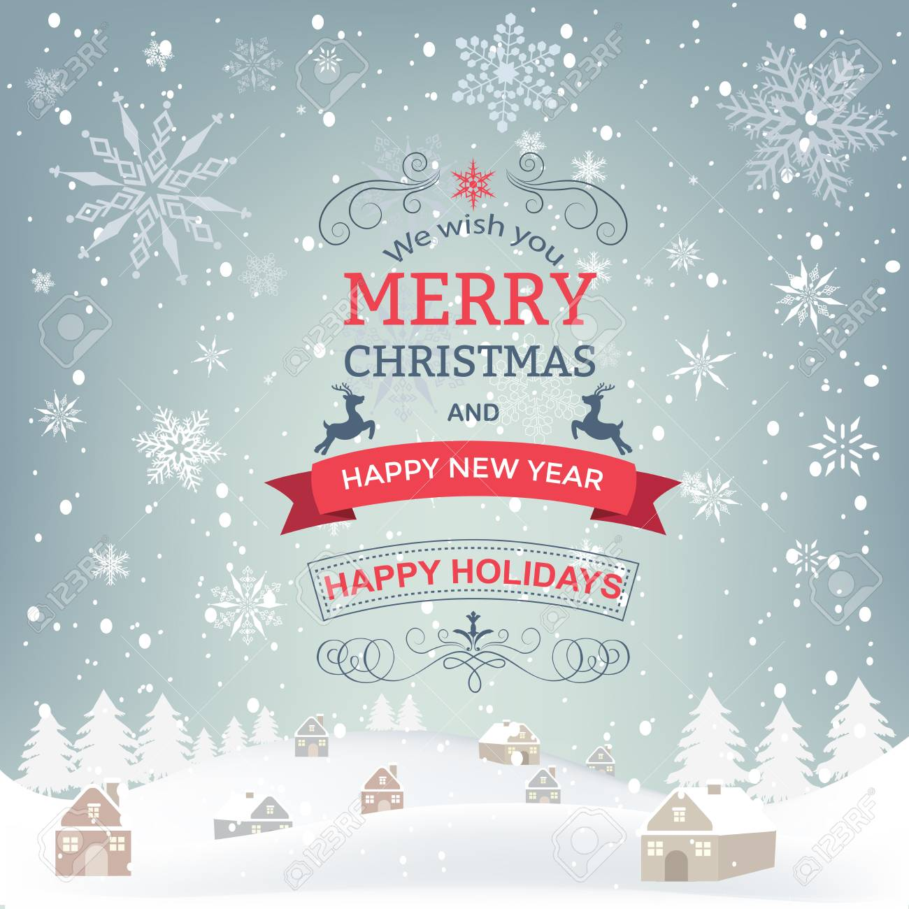 New Year And Christmas Greetings Design Winter Holidays Landscape