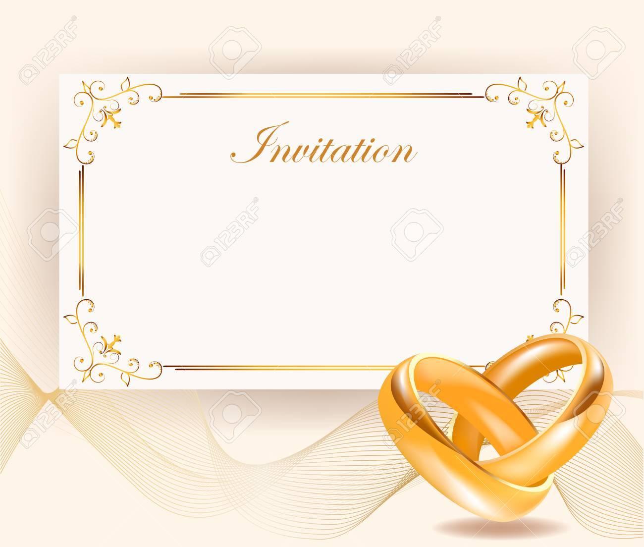 Einladung Zur Hochzeit Breite Goldene Ringe Im Retro Stil Perfekt