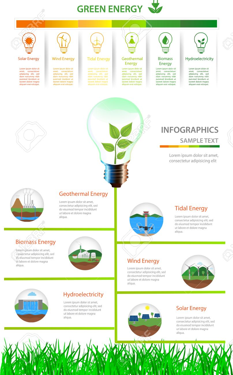 Renewable Energy Types Power Plant Icons Set Alternative Layout Images Solar Wind Hydro Biofuel Geothermal Tidal Useful For Banner
