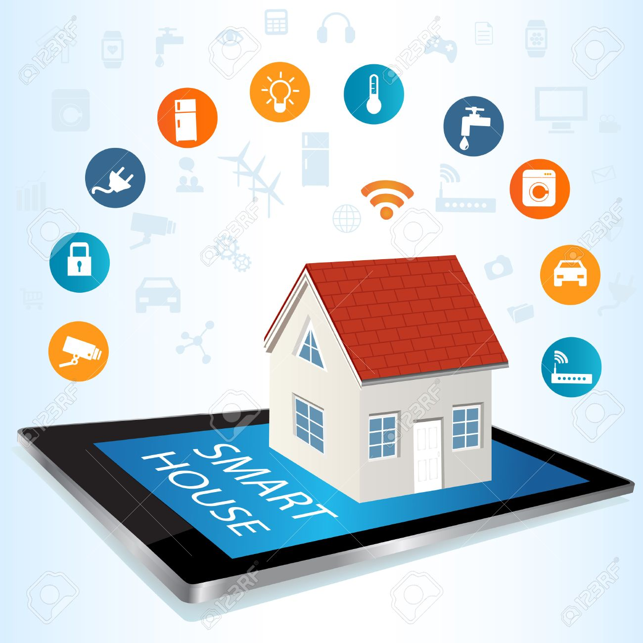 Modern Digital Tablet PC With Smart House Apps Internet Of Things