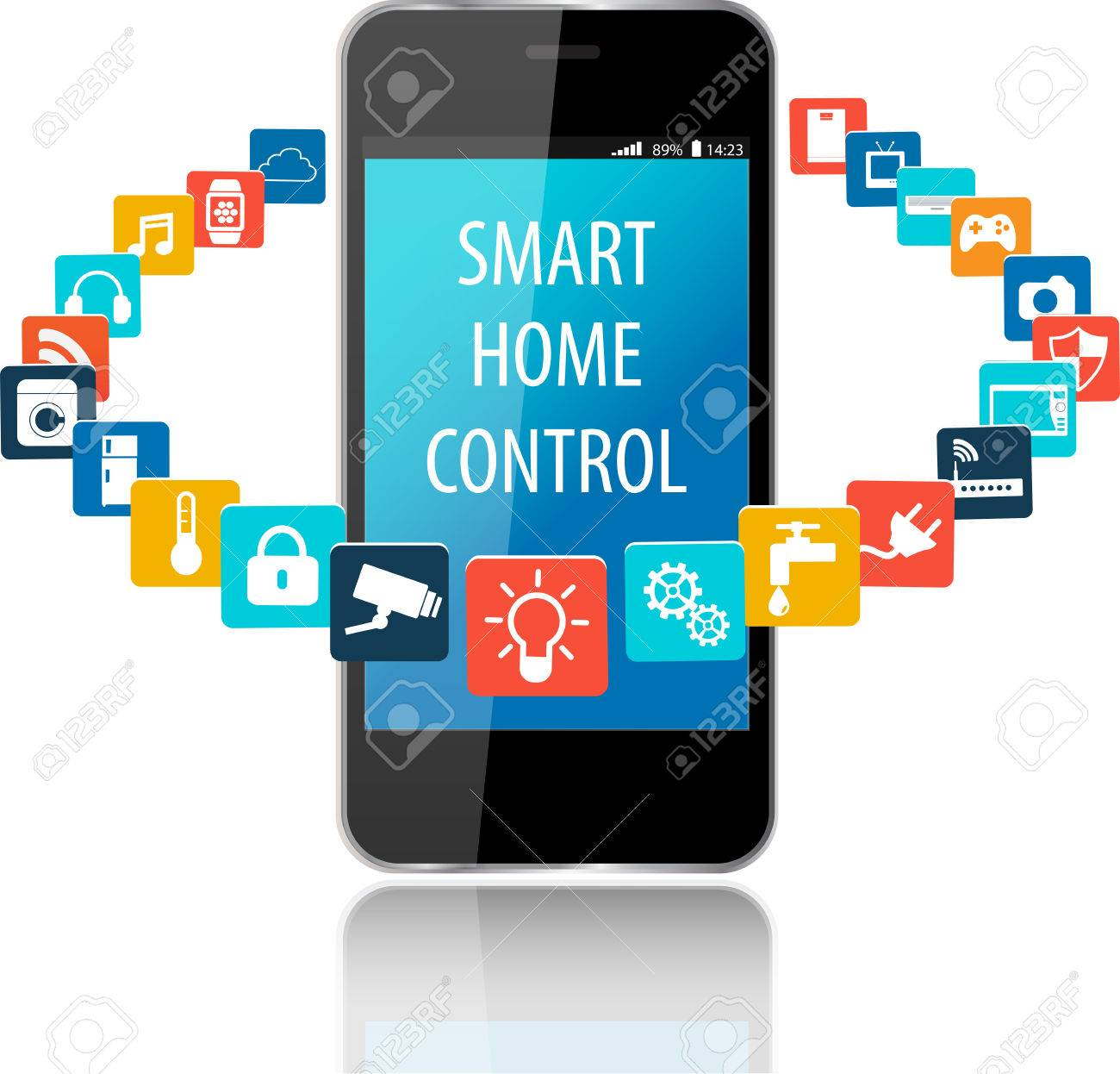 Smartphone With Smart House Apps. Internet Of Things Concept ...