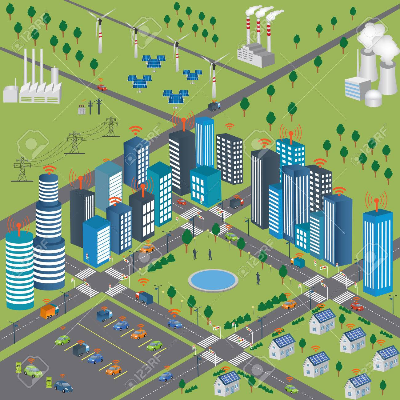 Smart Grid Concept Industrial And Smart Grid Devices In A Connected Royalty Free Cliparts Vectors And Stock Illustration Image 59983584