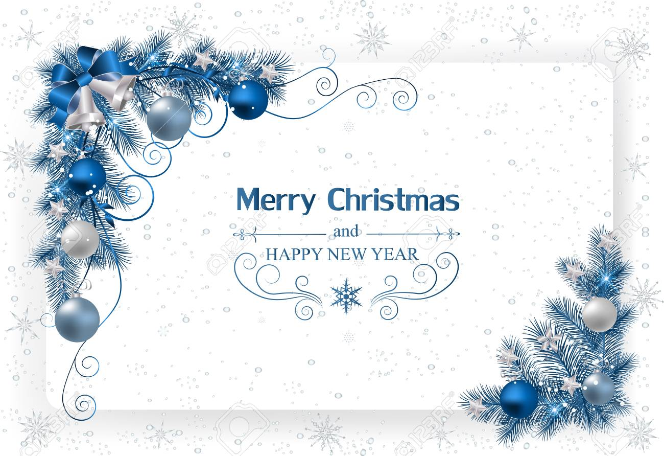 Christmas Background With Decoration And Paper.Christmas Card
