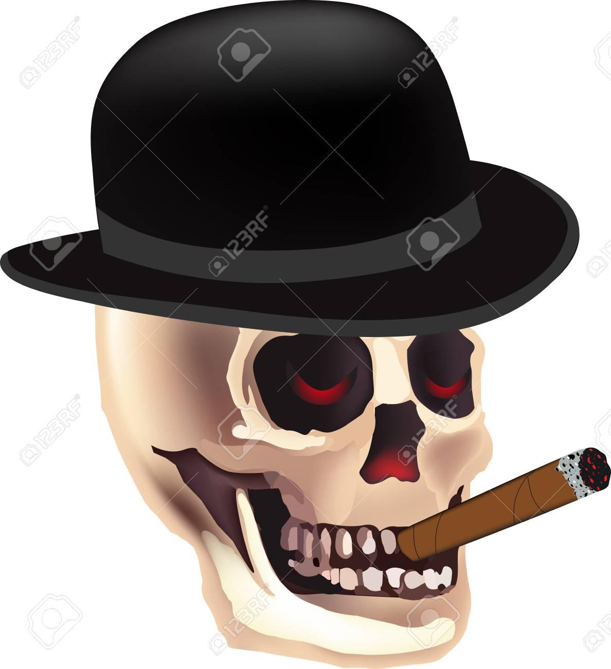 d961641735c Halloween skeleton with top reaper smoking skull vector stock vector jpg  1188x1300 Skeleton with top hat