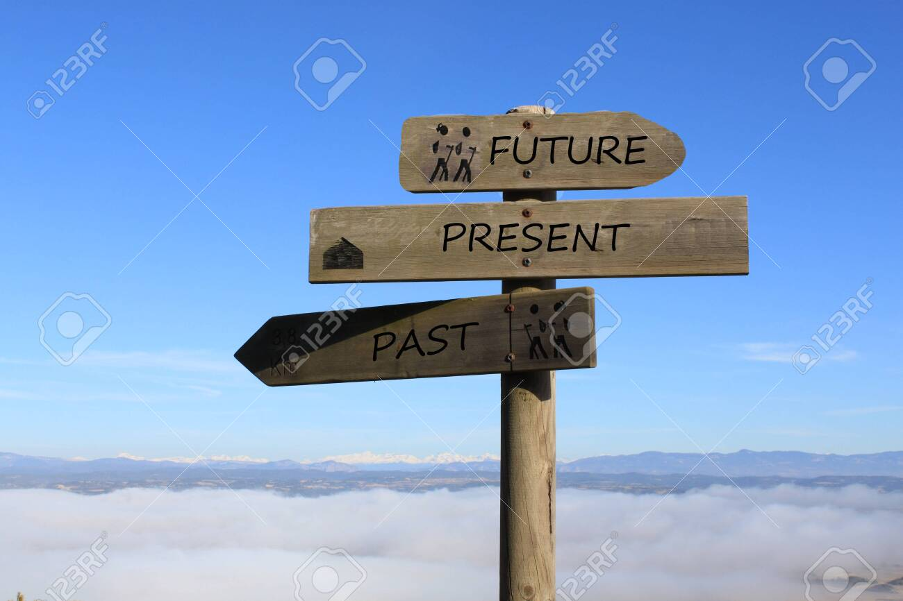 three signs indicating the way to future, present and past - 120486262