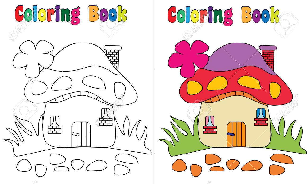 Coloring Book Mushroom House Stock Photo Picture And Royalty Free