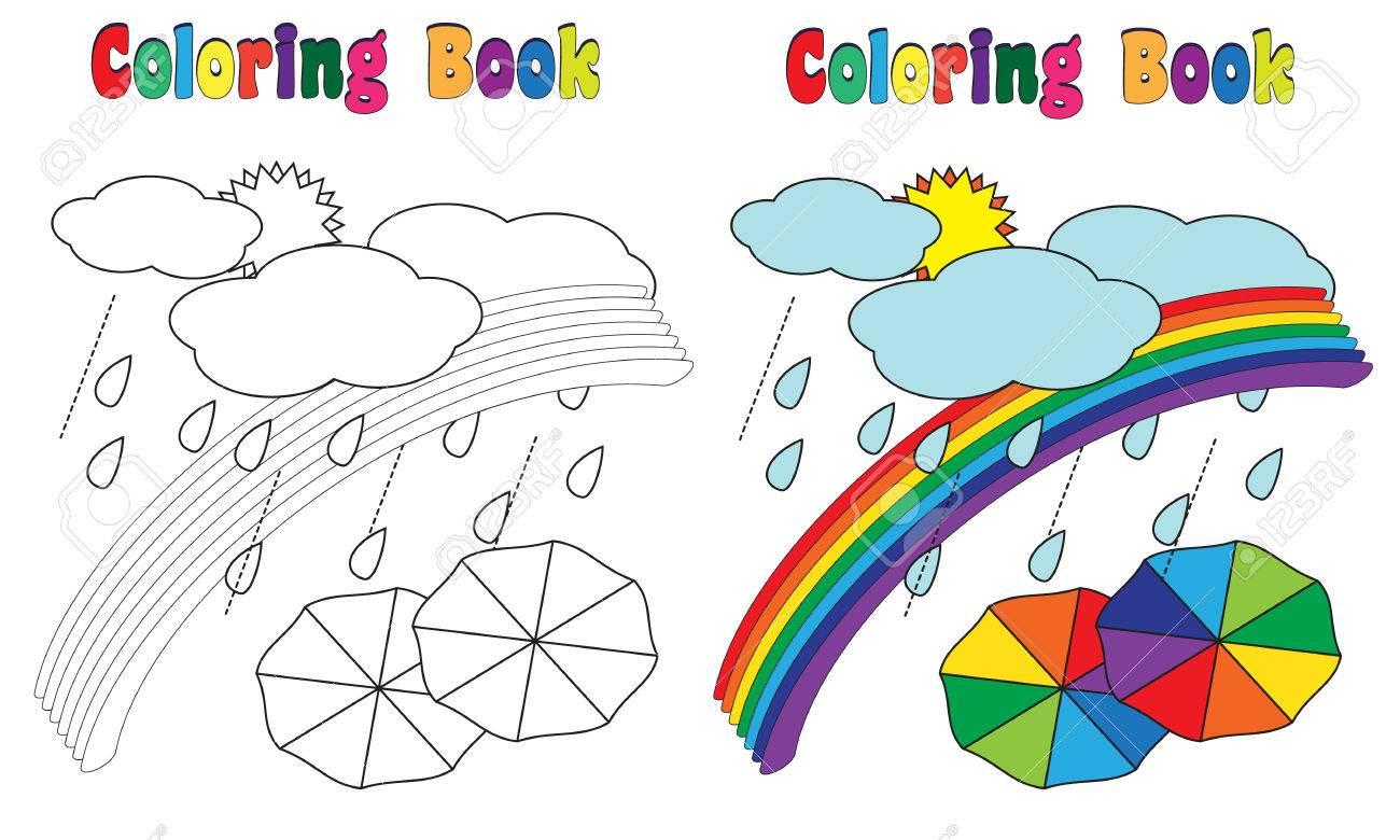 Coloring Book Rainbow Umbrella Stock Photo